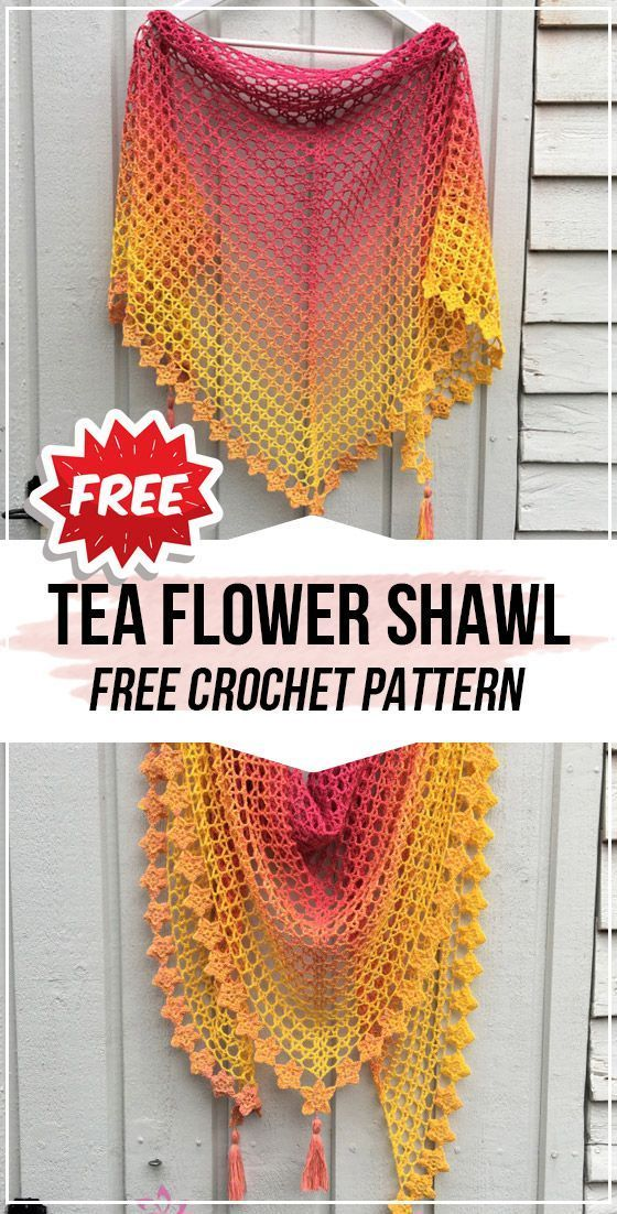 crochet Tea Flower Shawl free pattern #crochetshawlfree