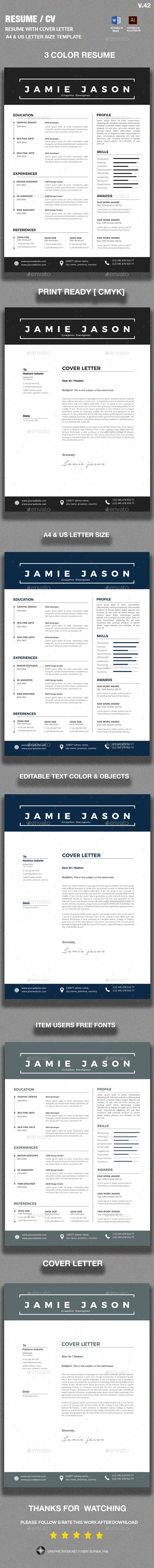 Resume Template Vector Eps Ai Illustrator Ms Word  Resume