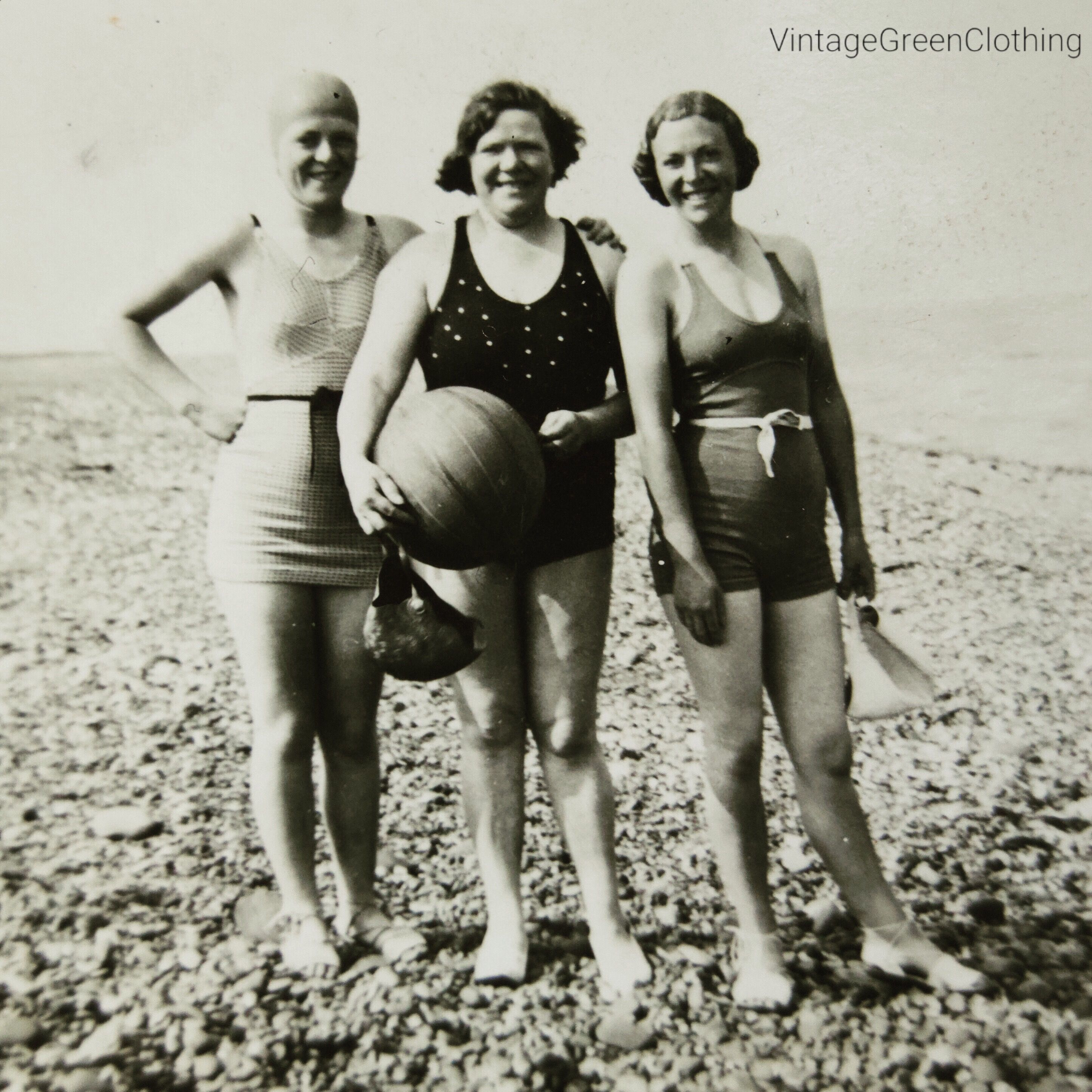 9b1d3f6d16 Vintage photograph - 1930 s  day at the beach . Fashion reference    resource - Ladies swimwear