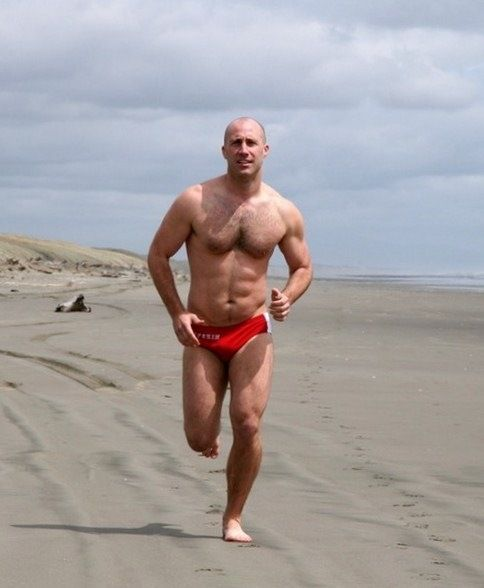 And have Hairy men walking beach