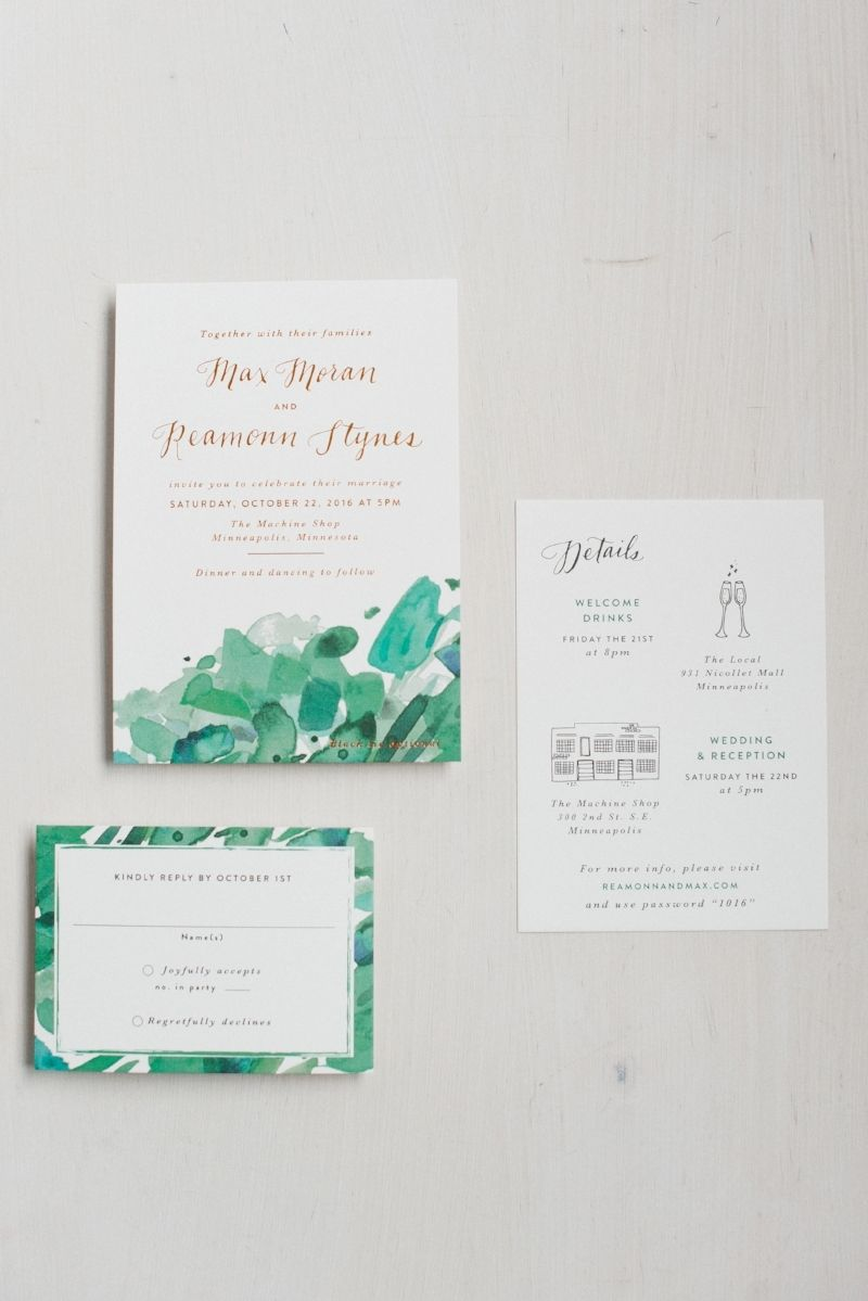 Digitally printed watercolor combined with copper foil stamping ...