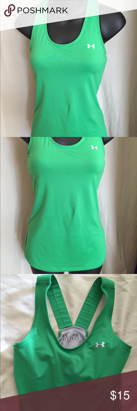 Green under armour tank Green Under Armour tank with built in sports bra. Label says fitted but it is more relaxed. Under Armour Tops Tank Tops