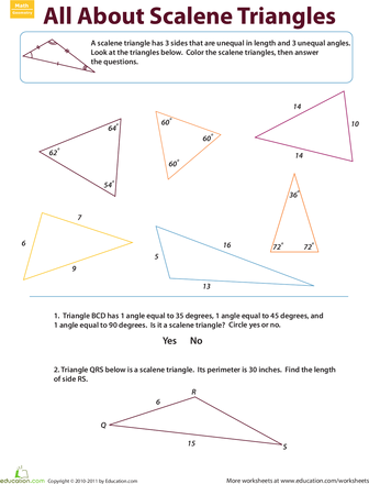 Scalene Triangles Geometry Worksheets Triangle Worksheet Third Grade Geometry Worksheets