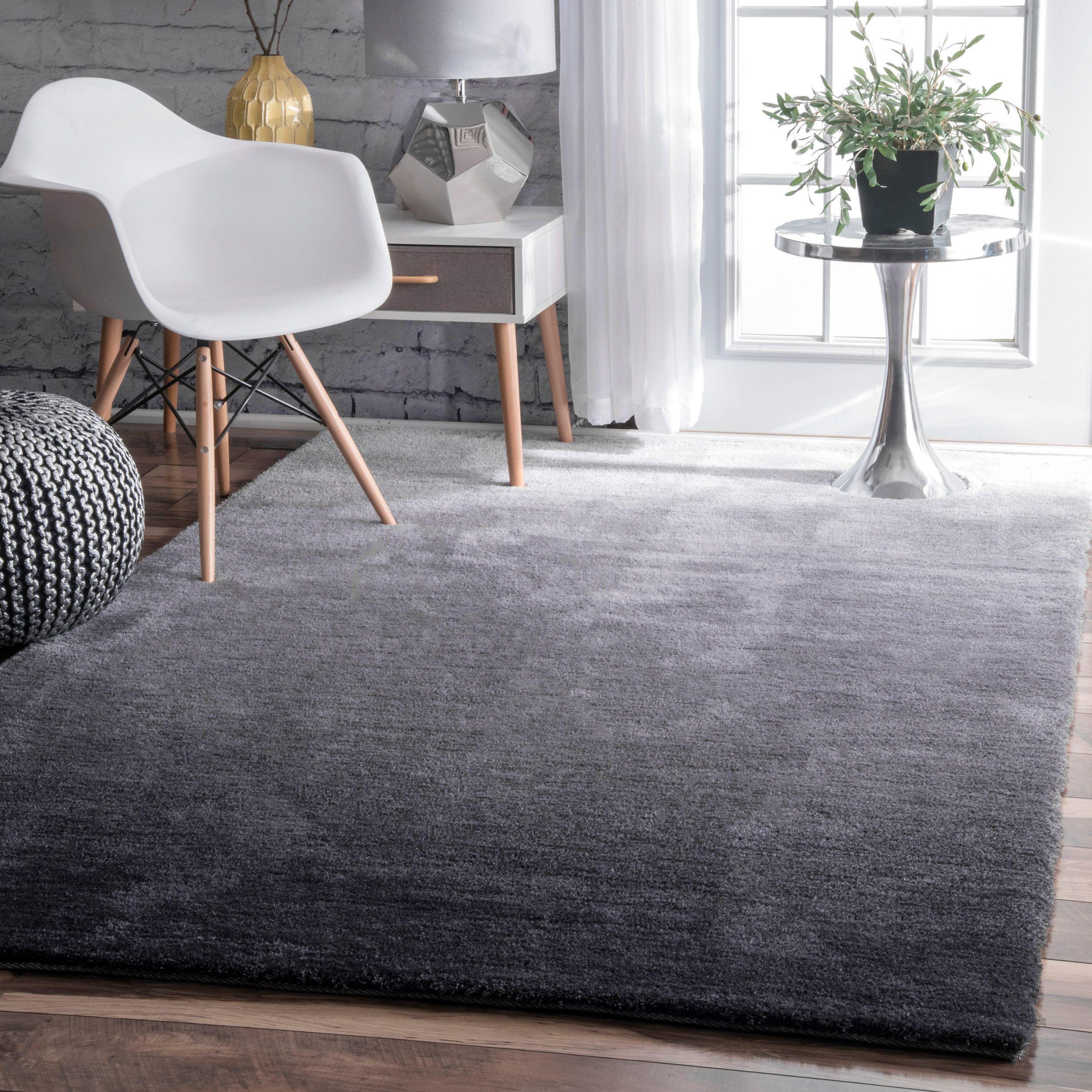 nuloom handmade soft and plush ombre grey shag rug 5u0027 x 8u0027