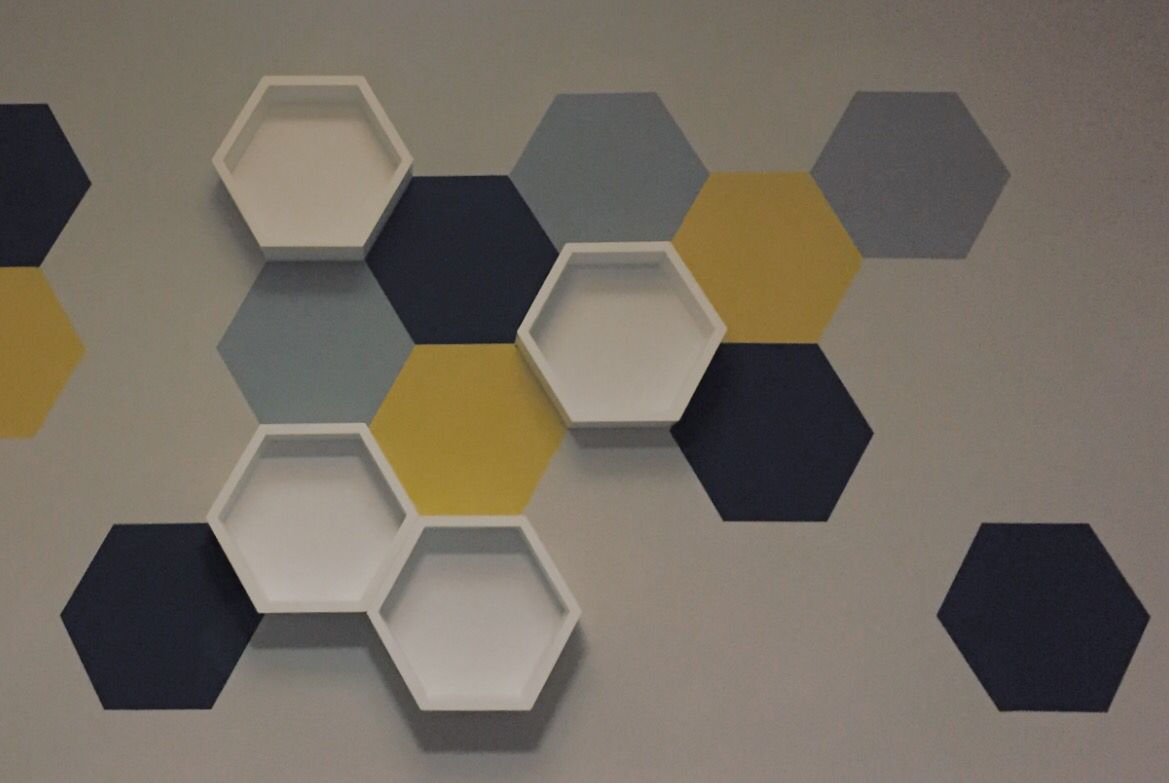 Painted Hexagon Wall Art With Shelves
