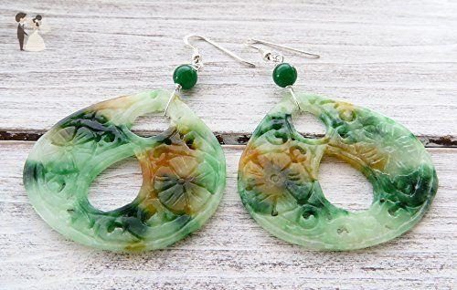 a6179152a Multicolor jade earrings, green drop earrings, 925 sterling silver earrings,  stone earrings, oriental jewelry, gift for her - Wedding earings (*Amazon  ...