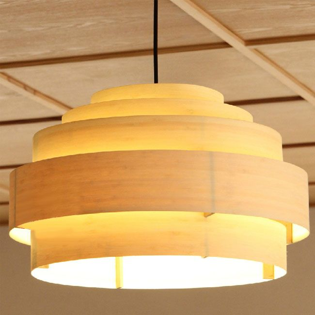 Modern Multi Rings Bamboo Veneer Pendant Lighting 10811