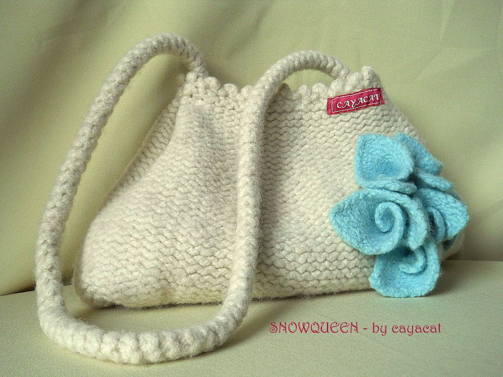 Hand knitted  purse SNOWQUEEN cream white ivory handbag with icy blue lilies sling bag, shoulder bag,. €82,00, via Etsy.