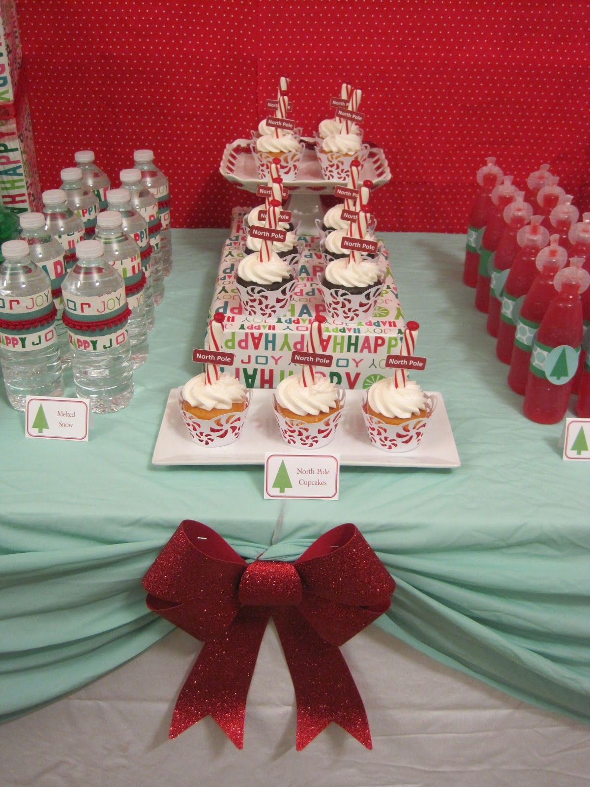 Attractive Christmas Party Ideas On A Budget Part - 7: With Chic Color Napery For Kids Christmas Party Decorations: Interior Added  By Me:great Idea With Water Bottles.