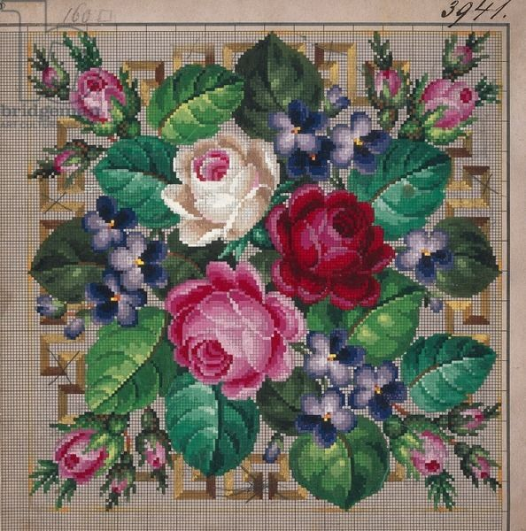 Bunch of roses and violets embroidery design, bordered by geometric motifs, 19th century.