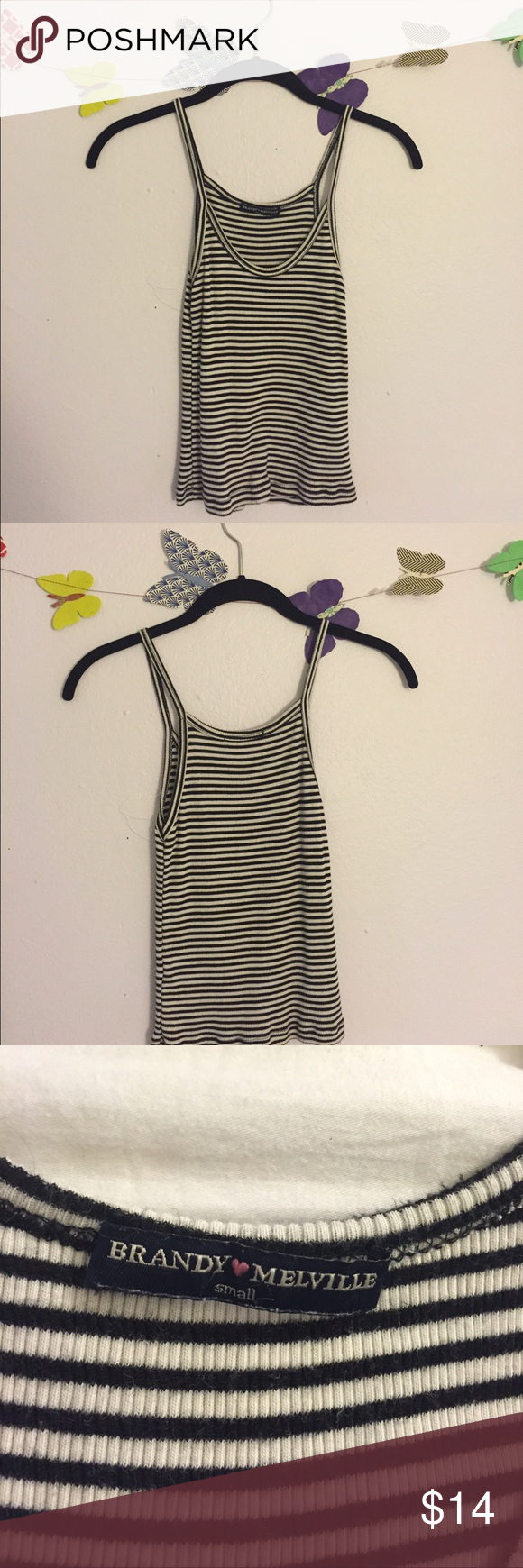 BRANDY JAMES TANK Brandy Melville striped tank    super stretchy and is a necessity for every closet🌸 worn once and has no signs of wear Brandy Melville Tops