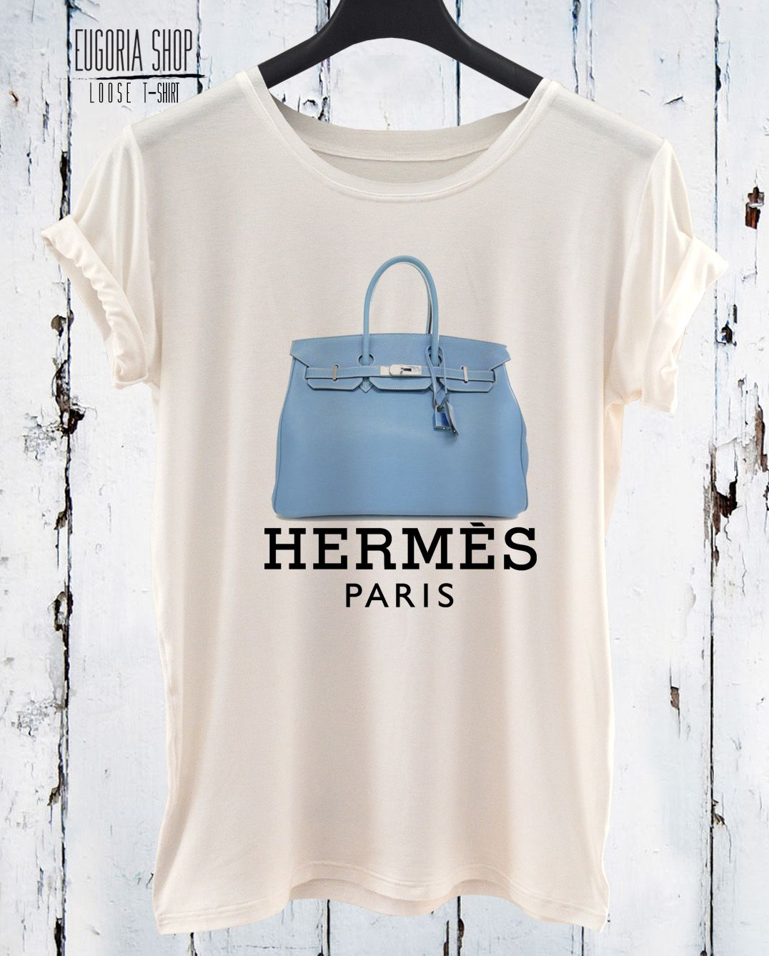 Blue Bag From Hermes Printed On My Fashion T Shirt By Eugoria Shop