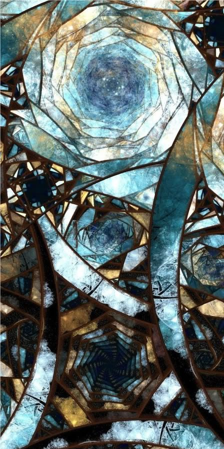 Blue and brown stained glass