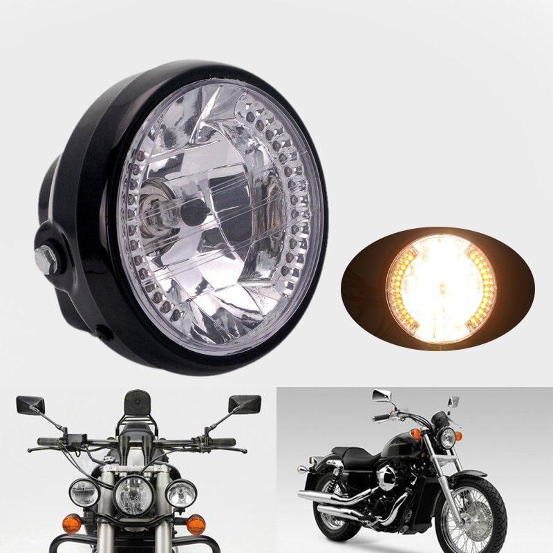 Dirt Bikes Headlight Moto Light Lamp for Harley Bobber Chopper Silver+Yellow