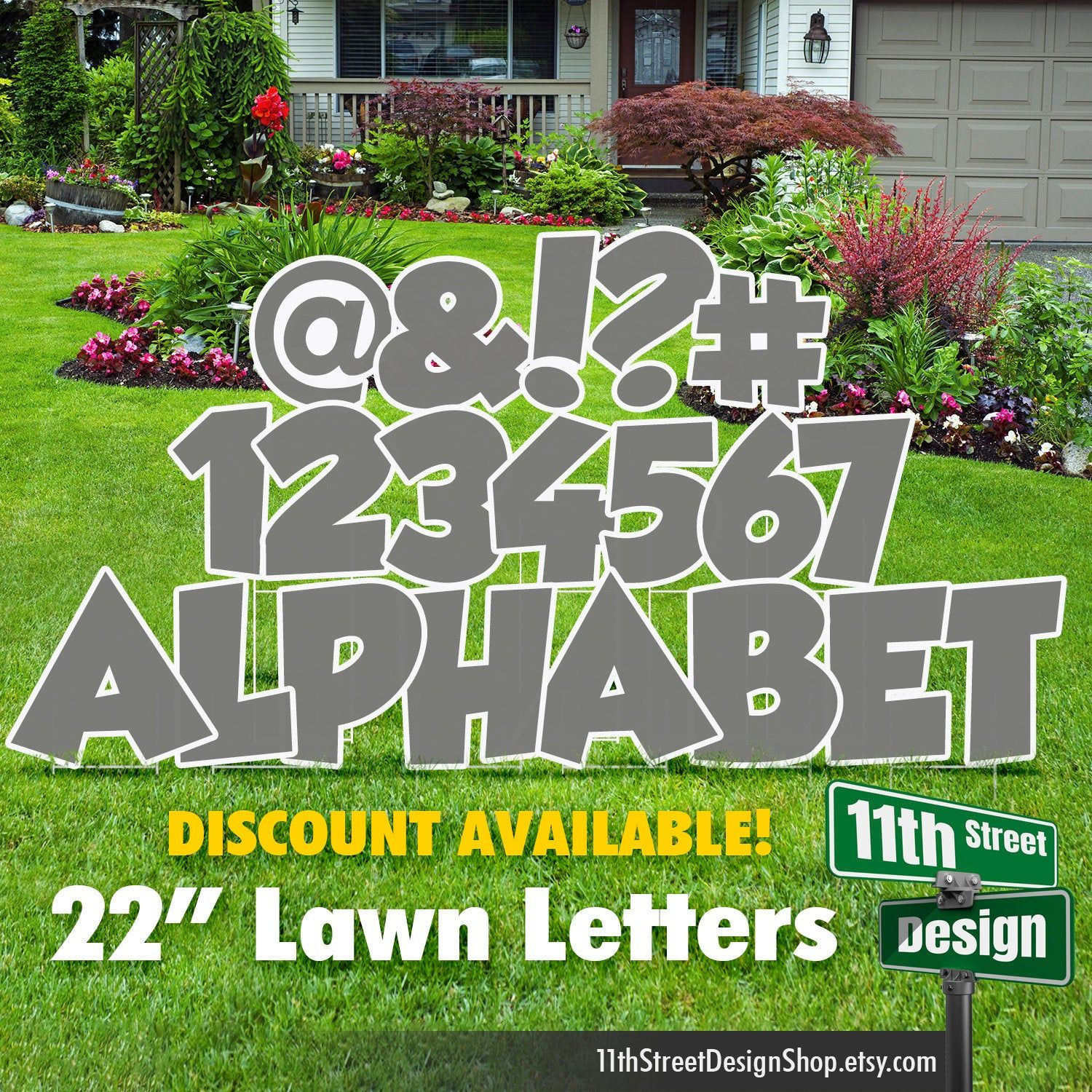 22 gray lawn letter yard signs full alphabet 22 etsy in