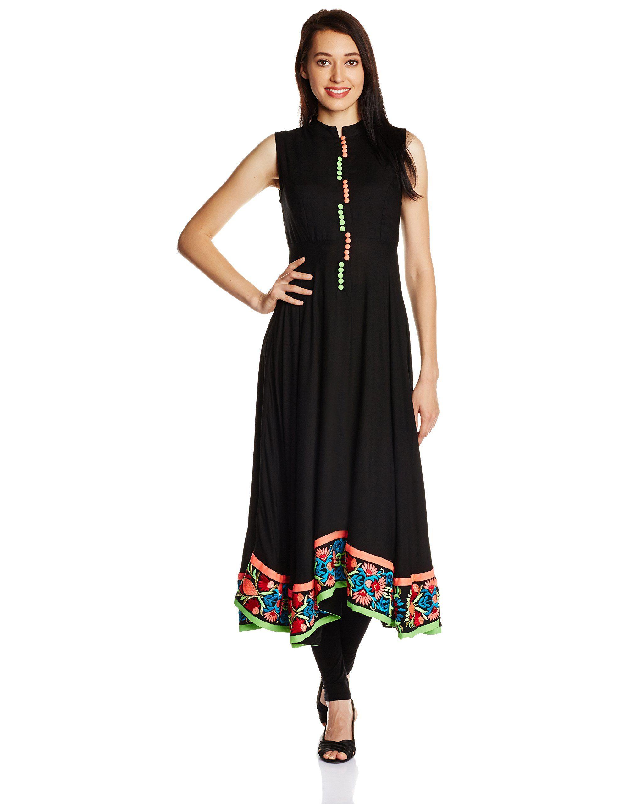bafa2b42158a28 Iti Women s Silk Anarkali Kurta  Amazon.in  Clothing   Accessories ...