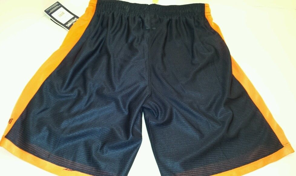 Spalding mens Large long training gym basketball running black orange shorts  #Spalding #Shorts