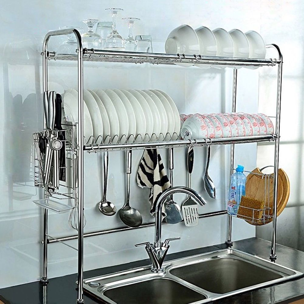 2 Shelf Dish Drying Rack Over Sink Storage Kitchenware Holder Save ...