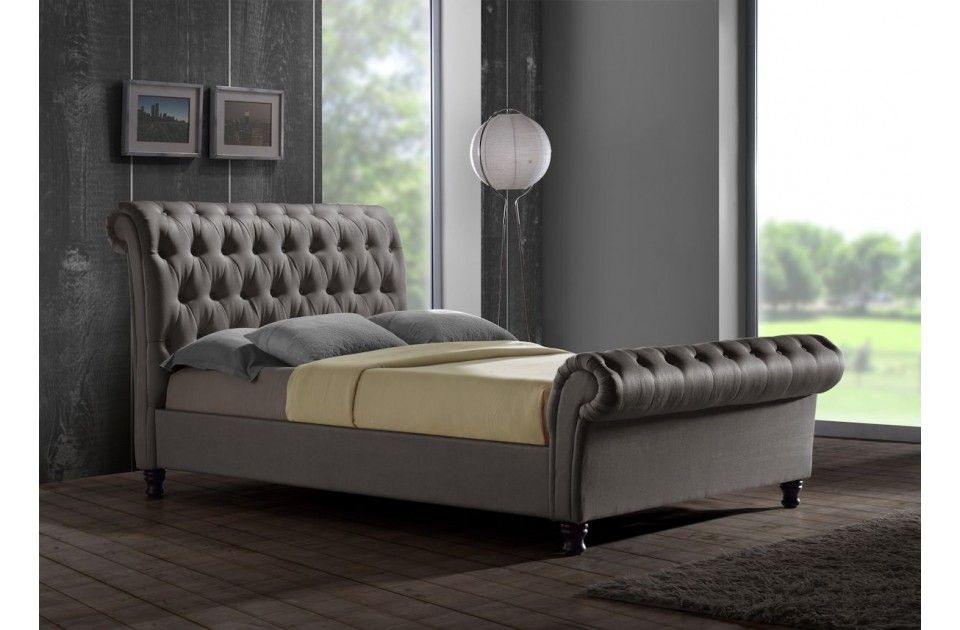 Castello Luxury Upholstered Buttoned Grey Sleigh Bed - Available In Double  KingSize Superking