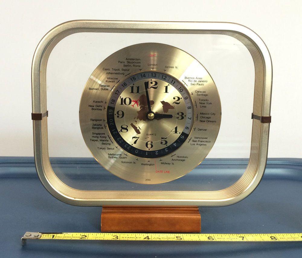 1980 Vintage Mantel Shelf World Clock Japan Airplane Mid Century Danish Modern Danish Modern Mid Century World Clock