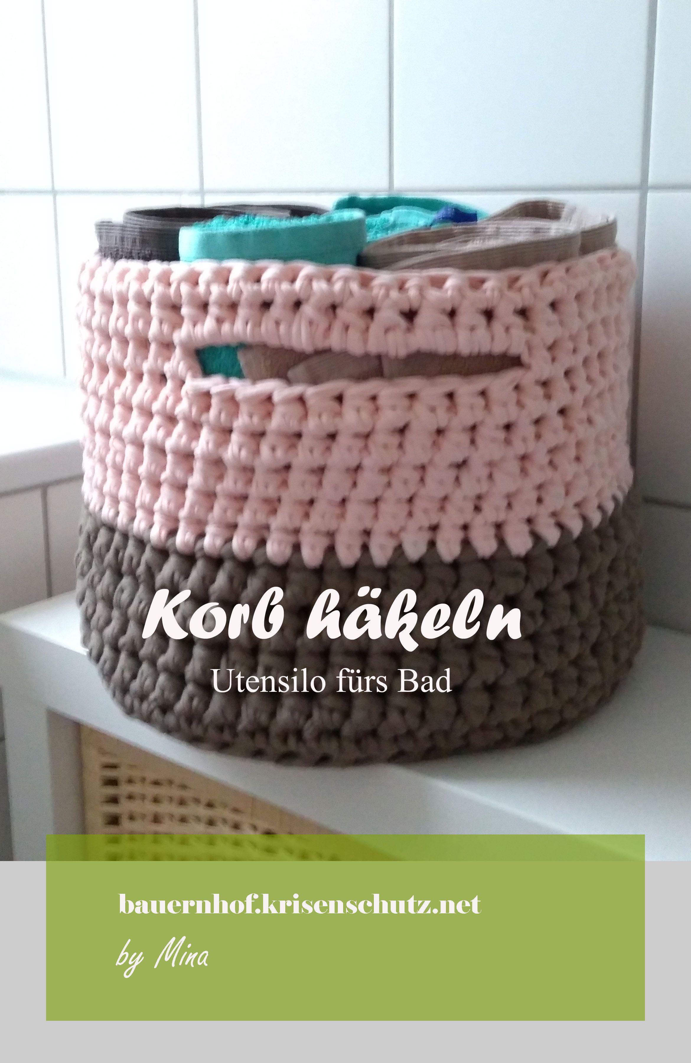 anleitung korb aus textilgarn h keln diy f rs badezimmer. Black Bedroom Furniture Sets. Home Design Ideas
