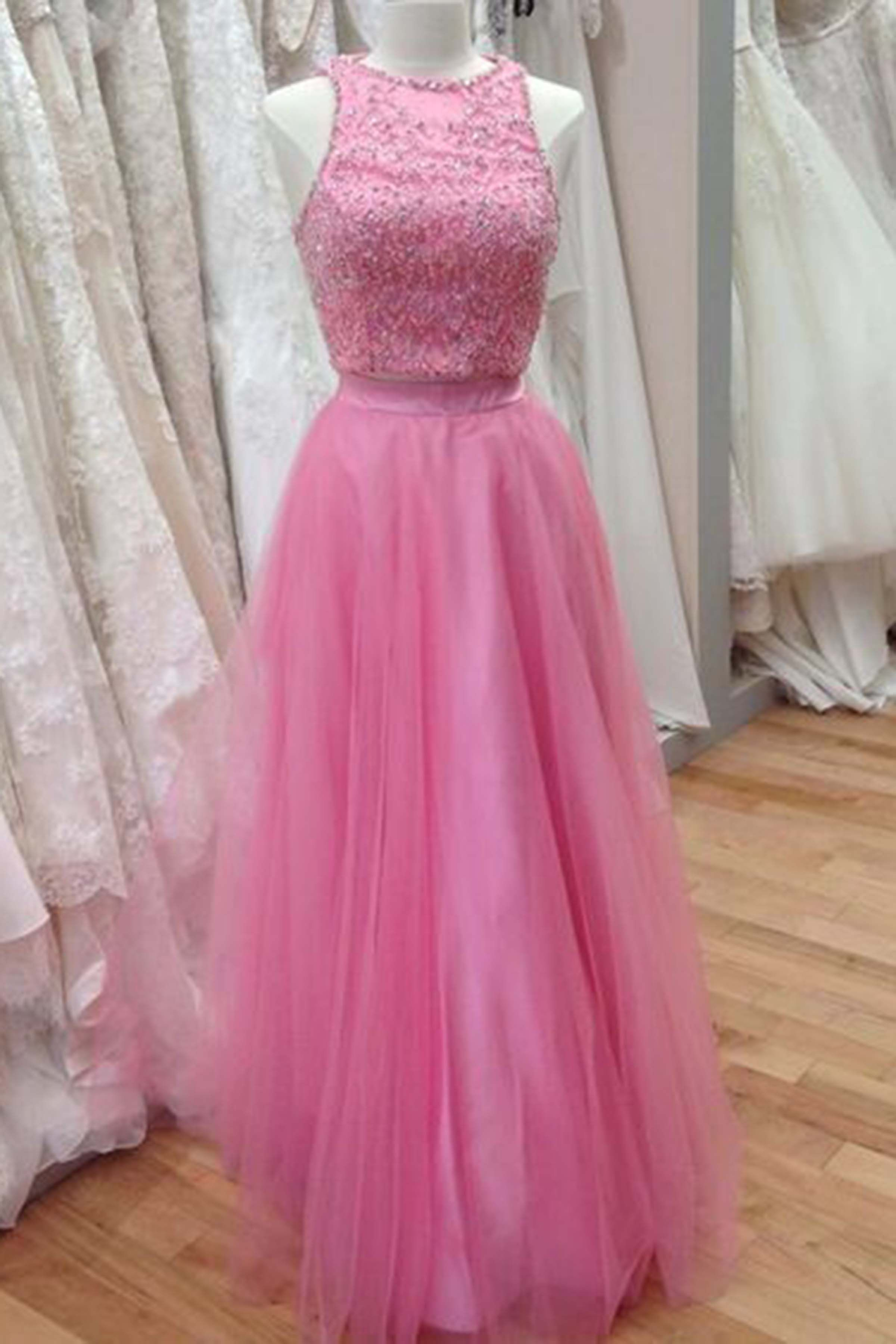 Pink tulle beading round neck long dress prom dress for teens prom