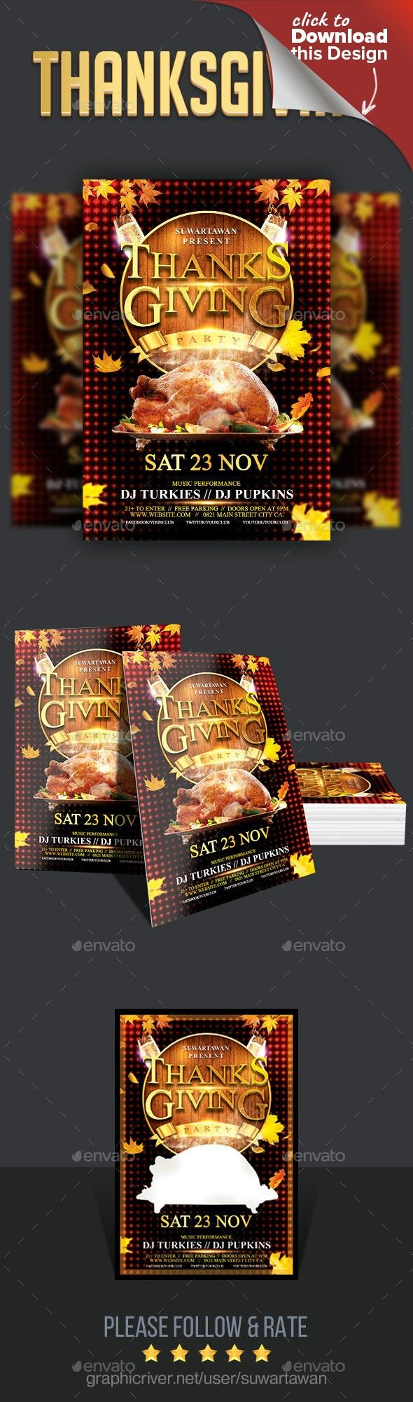 thanksgiving party thanksgiving parties flyer template and psd