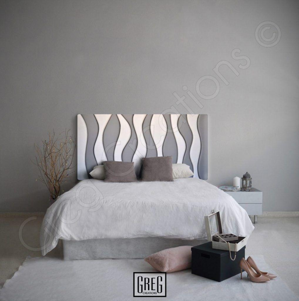 dormitorio con cabecero tapizado bicolor modelo two tone wave en