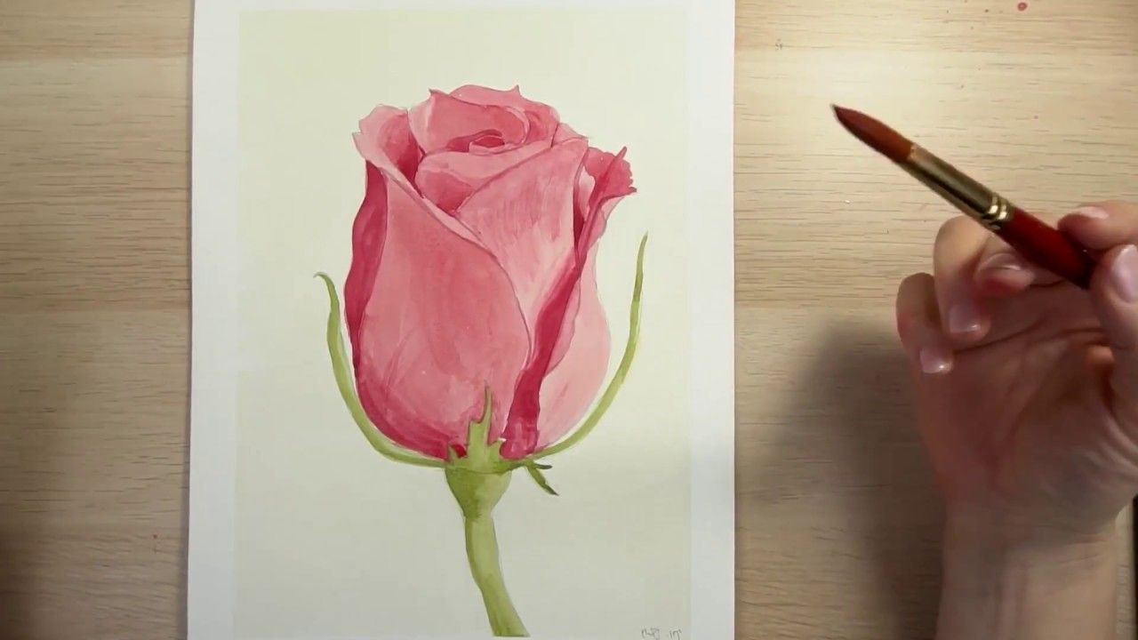How To Draw And Paint A Red Rose With Watercolors Youtube Flower Drawing Watercolor Flowers Paintings Red Roses