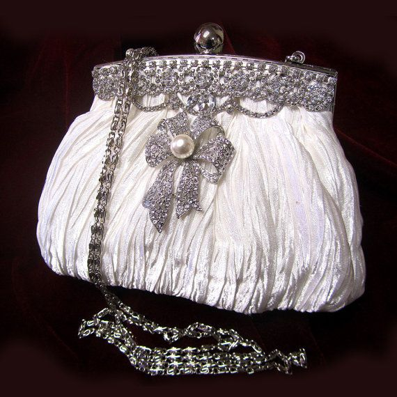 Her Majesty--Crystal bridal clutch, bridesmaids Victorian evening bag, white clutch, wedding clutch