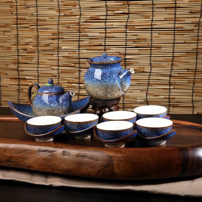 Unique Blue Jun Kiln Tea Set Unique tea, Tea set, Tea
