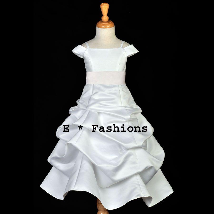 White easter communion wedding flower girl dress