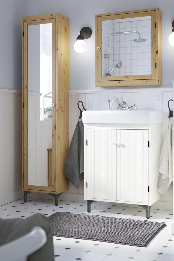 SILVERÅN High cabinet with mirror door, light brown | Door opener ...
