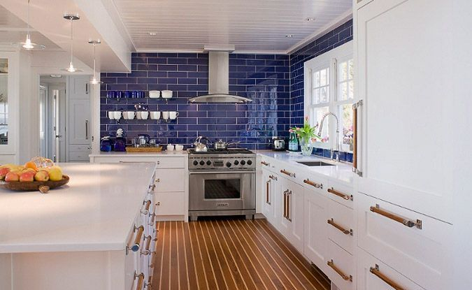 Bright Cobalt Blue Subway Tile Is The Show Stopper Against Shaker Style Doors And Drawer Fronts