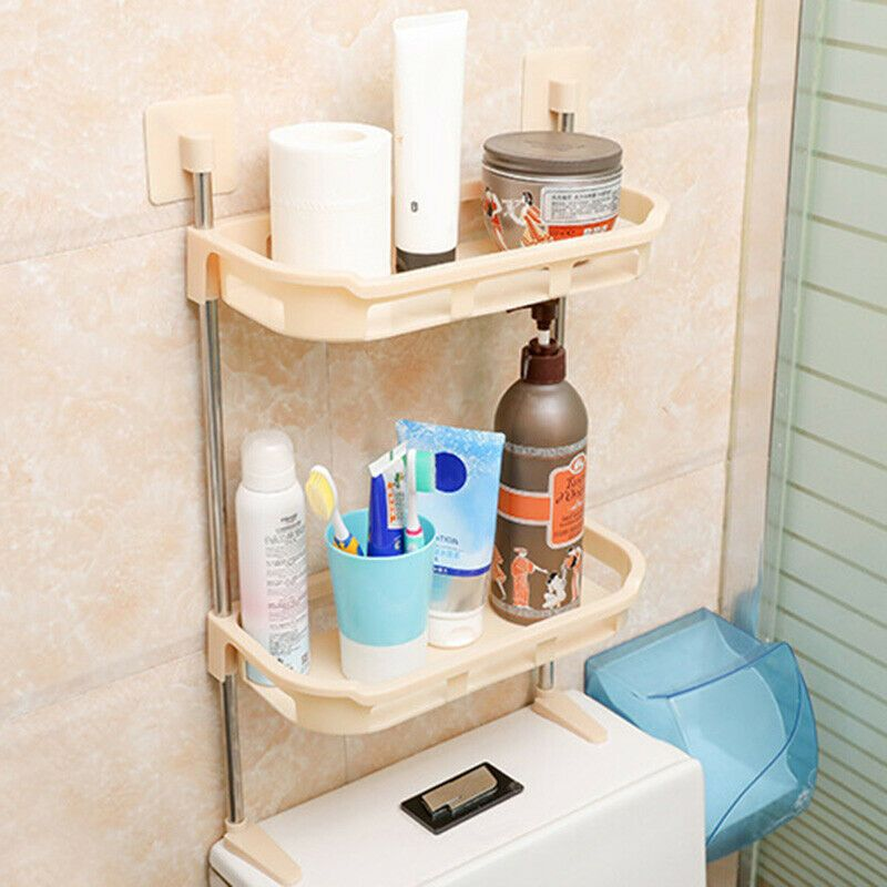 Over Toilet Storage Shelf Plastic Bathroom Caddy Kitchen Organizer Stand Rack Cn 8 98 Over The In 2020 Toilet Storage Over Toilet Storage Bathroom Storage Shelves