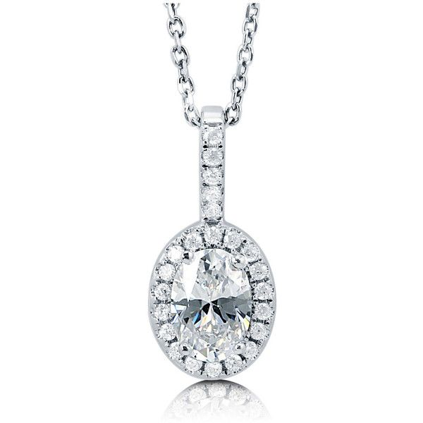 BERRICLE Sterling Silver Oval CZ Halo Wedding Bridal Fashion Pendant... ($30) ❤ liked on Polyvore featuring jewelry, necklaces, clear, pendant necklace, women's accessories, sterling silver pendant necklace, sterling silver necklace, sterling silver cz necklace, cz pendant necklace and cz pendant