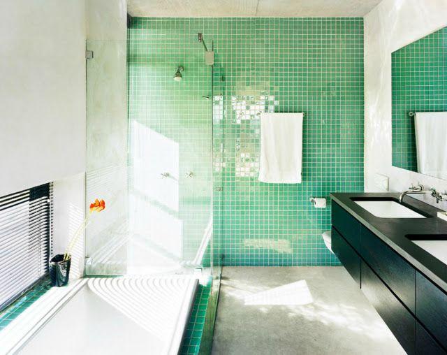 Green Bathroom Tile + Bright Natural Light | Home Inspiration | Pinterest | Green  Bathroom Tiles, Bathroom Tiling And Natural Light
