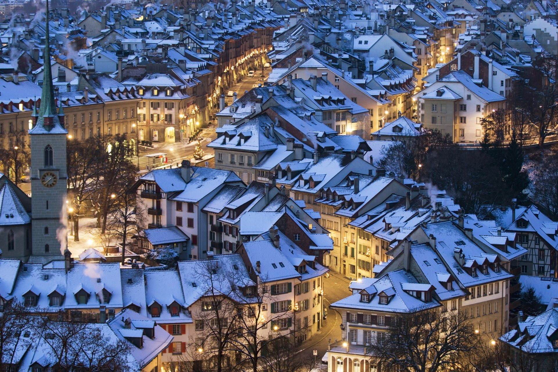 Bern, Switzerland  Snow covers the roofs of the houses in the city Photograph: Peter Klaunzer