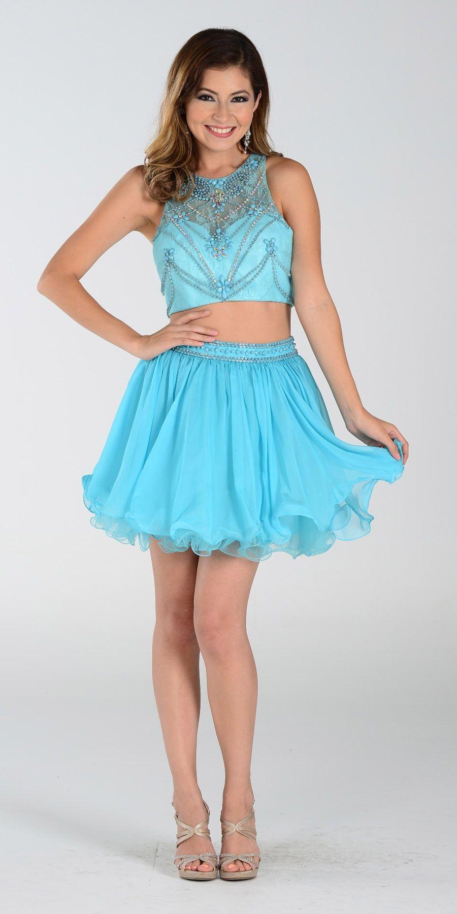 Poly usa short piece prom dress aqua chiffon skirt prom