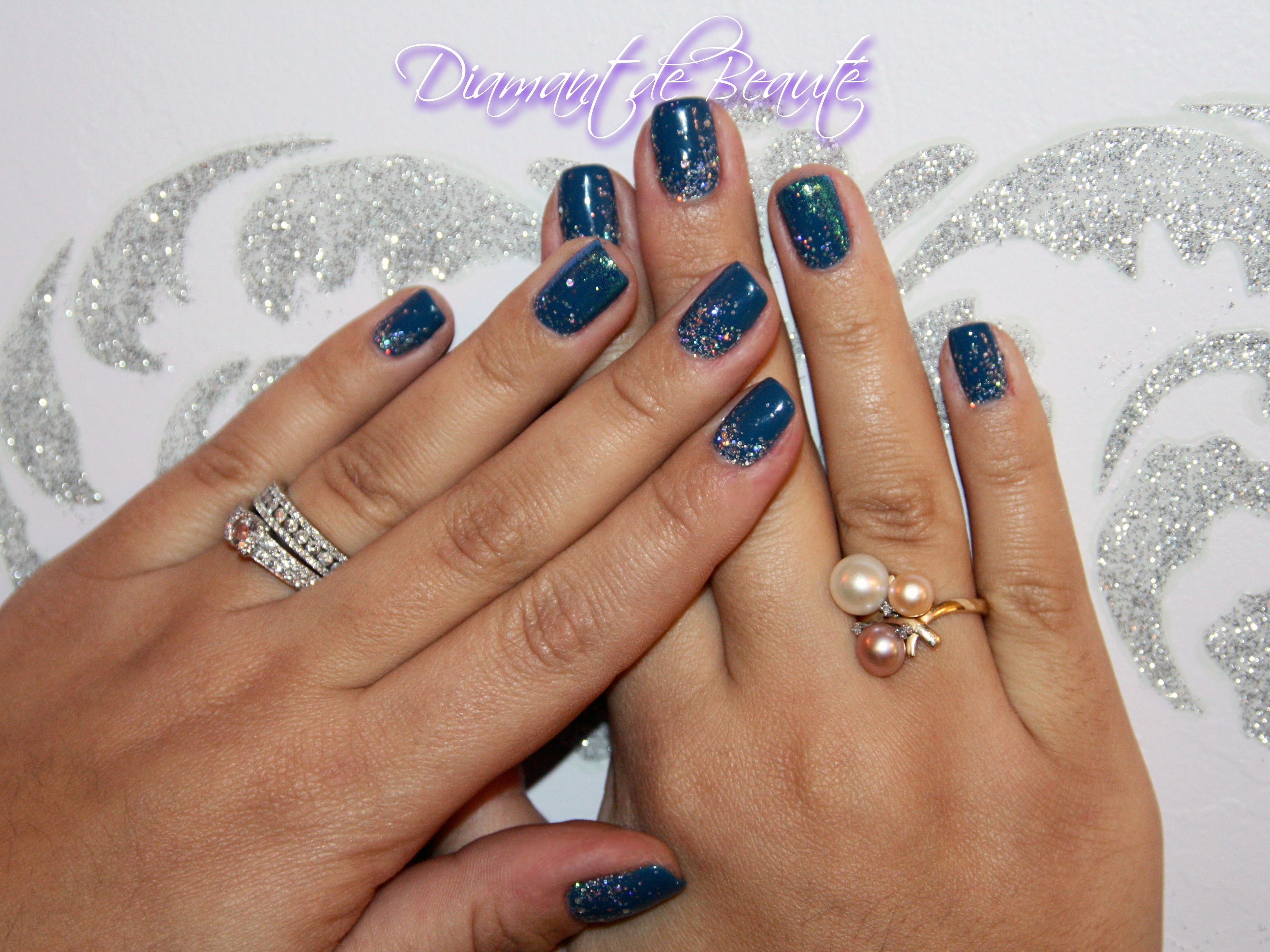 CND Shellac Blue Rapture with sparkles