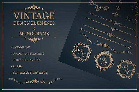 Vintage Design Elements Monograms By Maria Kolyadina On