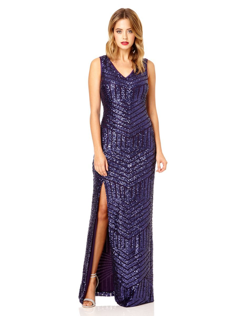 Purple sequin zig zag split maxi dress quiz clothing wedding by