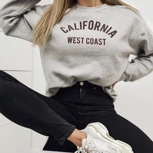 Womens Fashion Long Sleeve Letter Printed Colour Sweater