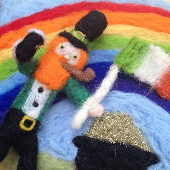 St Patricks day leprechaun doll needle felted by ThePotOfGold
