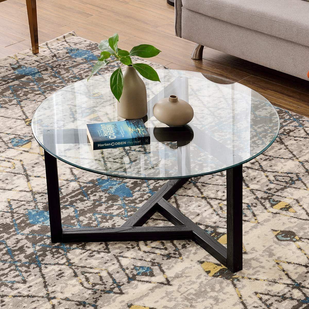 Amazon Com P Purlove Round Coffee Table 35 Modern Glass