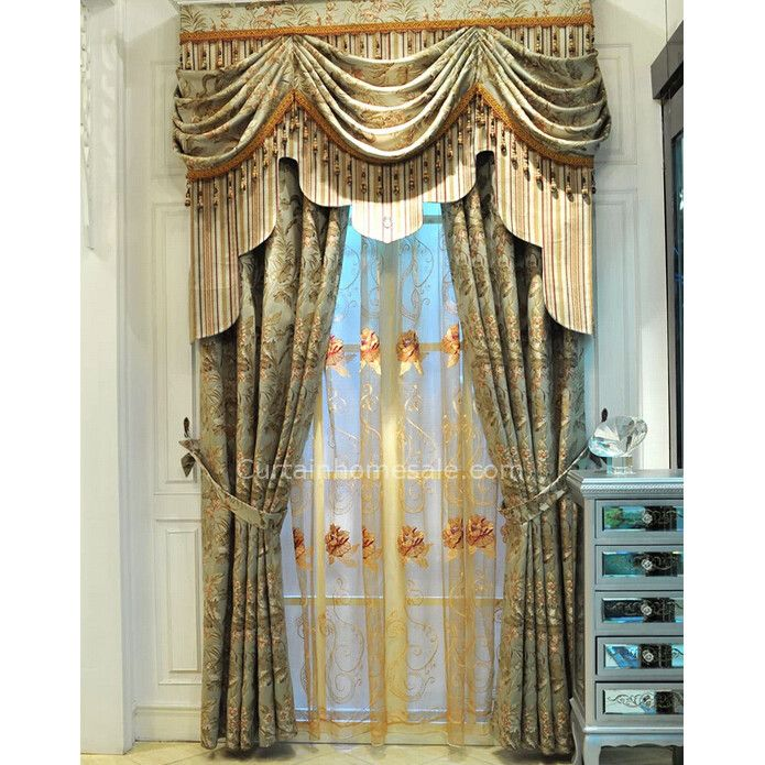 Vintage Lace Curtains In Combined Green Color For Fancy Living