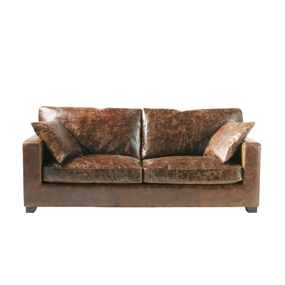 Canapé 38 places en cuir marron Stanford #matièresbrutes #loft ... - Canapé Industriel