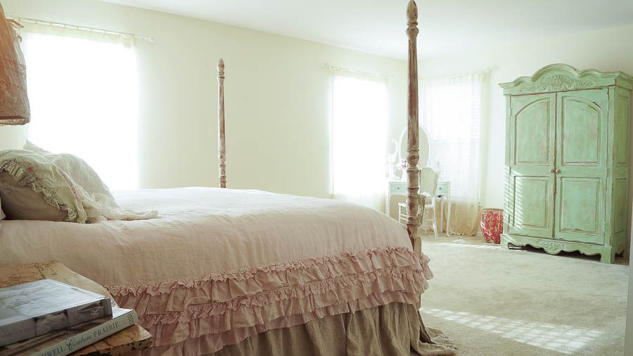 Best Master Bedroom Makeover On The Cheap Shabby Chic Master 400 x 300
