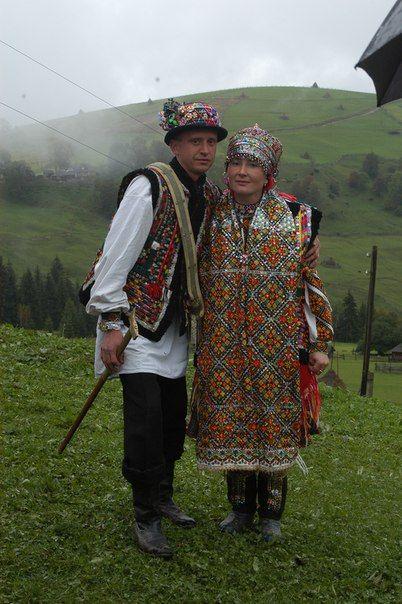 Eastern Europe | Portrait of a Hutsul couple wearing traditional wedding clothes, Western Ukraine, Ukrainian Carpathians #embroidery #wedding