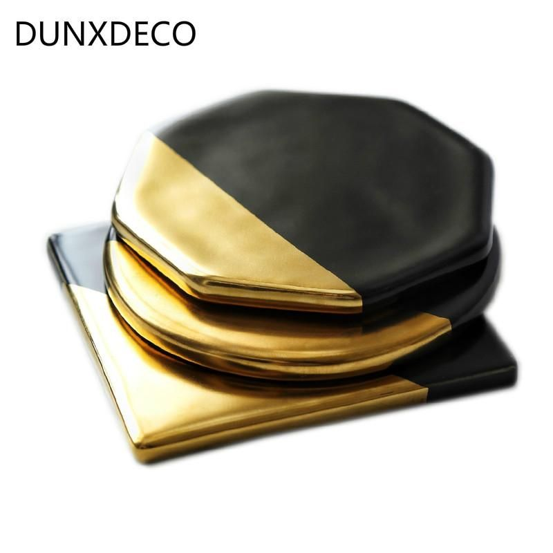 UK 1PC Marble Coaster Ceramic coasters Geometric Coasters Gold Plated Gift